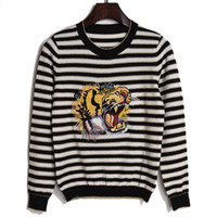 Wholesale Tiger Head Pullover - 2017 autumn fashion tide goods new striped tiger head embroidery knitted cashmere sweater sets female wholesale