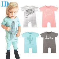 Wholesale Rompers For Boy Toddlers - IDGIRL Spring Cartoon Baby Romper Short Sleeve Letter Print Rompers For Boys Girls Bebe Vestidos Infant Toddler Jumpsuit JY0259
