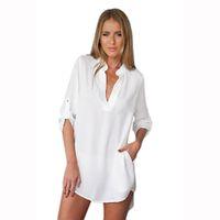 Wholesale Women Blouse Dog - Wholesale- Luck Dog Women Long Sleeve Tunic V Neck Loose Tops Casual Shirt Blouse