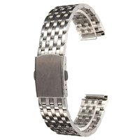 Wholesale Locks Wholesale Prices - Wholesale-2015 Newest Watch Strap Bracelet Stainless Steel With Push Button Double Flip Lock 18mm 20mm 22mm Lowest Price