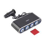 carregadores de carro multi porto venda por atacado-WF-0307 Way Multi Socket Carregador de Carro Veículo Auto Cigarette Car Splitter Socket Dual USB Portas Plug Adapter 12 v 24 v