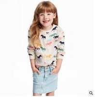 Wholesale Horse Machine - Children Cardigan Girls printed butterflies sequins knitting sweaters Autumn Winter kids horses sequins circles outwears Girls Clothes C1570