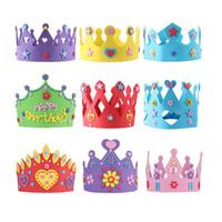 Wholesale Eva Diy Crown - EVA Foam Birthday Crown for Children Birthday Party Caps Self-adhesive DIY Handmade 3D Eva Crown Hat Craft Kits ZA3595