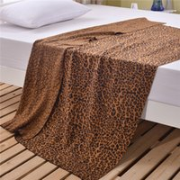 Wholesale Twin Bedspreads Wholesale - Leopard & Animals Pattern Blankets Letter Blanket Bed Fashion Fleece Bedding Sofa Air Condition Cotton Bedspreads Brown White