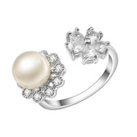 Wholesale Shell Mother Pearl Rings - KIVN Fashion Jewelry Elegant engagement rings CZ Cubic Zirconia Open Adjustable Pearl wedding Rings for Women 11OLA4696