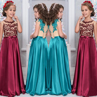 Wholesale Tank Prom Dresses - Lace Flower Girl Dresses for Weddings 2017 Sheer Tank Sleeveless Appliques Satin Prom Gowns Girls Pageant Dress
