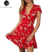 Wholesale Girl S Night - Wholesale- Lily Rosie Girl Red Floral Print Deep V Neck Sexy Warp Dress Women Boho Style Summer Beach Loose Short Dresses Vestidos