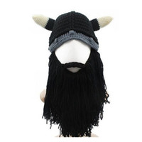 Wholesale Helmet Horns - novel Funny personality Autumn winter knitting Big beard Ox horn cap cosplay hat Viking knight Helmet Creative gifts free shipping