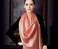 Wholesale Hangzhou Scarf - Autumn and winter new silk scarf woman plain heavy silk satin red scarf Hangzhou color scarf