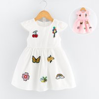 Wholesale 2017 Summer Girl Sleeveless White Dresses Vest Printed Flowers Kids Kids Fashion Dresses