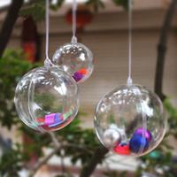 ingrosso palle hanging tree all'aperto-Decorazioni di Natale in plastica trasparente Hanging Ball Bauble Candy Ornament Xmas Tree Outdoor Decor Chiaro Natale Baubles