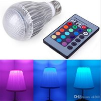 Wholesale led coloured bulb - New Arrival LED RGB bulb E27 9W 15W AC 85-265V rgb led Lamp with Remote Control multiple colour led rgb lamp