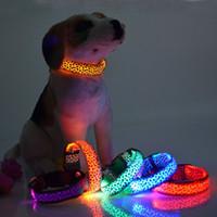 Wholesale led flashing lights dog collar resale online - Leopard LED Dog Collar Solid Color Nylon Dog Pet Flashing Night Light Up Lead Necklace Adjustable Collars ZA3758