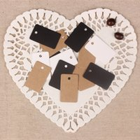 Wholesale Clothing Hang Tags Wholesale - Wholesale- 2*3.3cm Rectangular Shape Kraft Paper Tag Jewelry Gift Paper Price Tags Boutique Clothes Paper Event Party Hang Tags 500Pcs  Lot