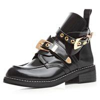 botas de moda desenhada venda por atacado-Atacado- Botas Mujer Inverno Oferta Especial nova chegada marca mesmo design de alta qualidade mulheres moda recorte 2016 Metal fivela Martin botas