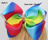 Wholesale Hairpins Fashion - 10style available ! JOJO SIWA 8inch LARGE Rainbow Signature HAIR BOW wich clip baby girl Children Hair Accessories fashion hair clip 30pcs