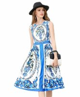 Wholesale Mini Dress Europe - Europe and the United States foreign trade dress 2017 summer new porcelain stamp dress sleeveless vest dress and put on a long paragraph
