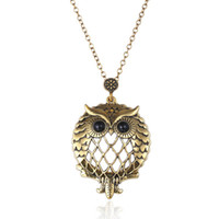 Wholesale Silver Owl Watch - Owl Magnifier Glass Pendant Necklace Vintage Suspension Chain Animal Pocket Watch Collar Choker Fashion Jewelry Wholesale Gifts