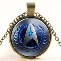 Barato Colar De Pingente De Estrela De Vidro-Atacado Glass Dome Cabochon 25mm Star Trek Necklace Glass Cabochon Dome Pendant Jóias Retro Jewelry Free Shipping