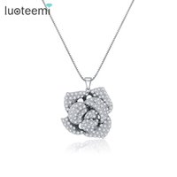 Wholesale Rose Flower Statement Necklace - LUOTEEMI Hot Selling New Statement Rose Flower Pendant Necklace Noble Women Bright Clear CZ Crystal Bride Party Jewelry Gift