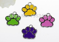 Wholesale Handcraft Beads - 50pcs Vintage Enamel Cat Dog palm Paw Prints Charms Pendants Fit Bracelet Jewelry Making Findings Handcraft Accessories Gift Mixed color
