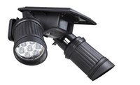 Wholesale Outdoor Dual Pir - Modern Solar Powered PIR Motion Sensor 180 degree Solar Lamp Dual Head Spotlight Outdoor Waterproof 14 LEDs Garden Wall Light