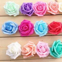 Wholesale Display 14 - 7.5cm Artificial Fake Flowers Foam rose flowers for Wedding Bouquet Party holiday and home Deco factory wholesale 14 colors available
