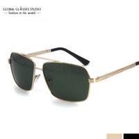 Wholesale Bar Sunglasses - Free Shipping Vintage Inspired Dapper Cross Bar Double Bridge Men Metal Rectangle Frame Polarized Lens Sunglasses RST012
