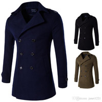 Wholesale green wool trench coat - Double Breasted Personalize Mens Trench Lapel Neck British Style Men Trench Coats Winter Slim Wool Coat Solid Trench For Men J161106