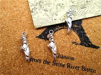 Wholesale Silver Ballet Slippers - 100pcs-- Ballet Slipper Charms Antique Tibetan silver Ballet Slipper Charms pendants ,DIY Supplies 22mm x 6mm