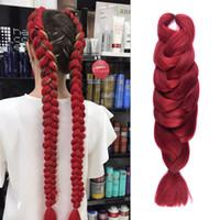 Wholesale Long Burgundy Hair Extensions - Synthetic Braids Hair 84'' 165g Pack Long Black Blonde Blue Brown Burgundy Crochet Braiding Hair Extensions