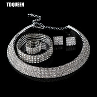 Wholesale Dubai Accessories - TDQUEEN Crystal Bridal Jewelry Set Classic Circle 4 Rows Dubai Wedding Party Gift Accessories Necklace Earring Bracelet Ring Set