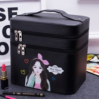 2017 Double Layer Travel Cosmetic Bags impermeável Pu Multifunction Makeup Storage Bag Cartoon Girl Toiletry Bag para homens Mulheres