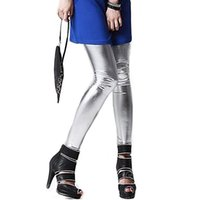 Atacado- Hot Girls Metallic Colorido Shiny Sparkle Spandex Faux Leather Summer Leggings Retail / Wholesale 5ATT 7EA2