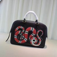 Wholesale large snake - Fashion avant-garde import leather color snake pattern large capacity briefcase handmade tide card universal bag
