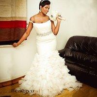 Wholesale Long Layered Skirts - 2017 Arabic Plus Size Mermaid Wedding Dress White Organza Layered Ruffle Skirt Off The Shoulder Scoop Corset Beads Sash Long Bridal Gowns