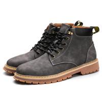 erkekler süet deri çizmeler toptan satış-Erkek Moda Deri Martin Çizmeler Sonbahar Nedensel Sarı süet Ayak Bileği çizmeler erkekler için siyah Sarı Ayakkabı