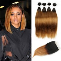Wholesale straight dark root hair for sale - T B Dark Root Medium Auburn sraight Ombre Human Hair Weave Bundles with Lace Closure Brazilian Virgin Hair Extensions