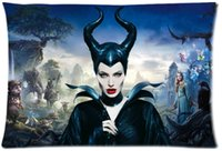 Wholesale Movies Angelina Jolie - 2pcs Custom Maleficent Angelina Jolie Movie Pattern Zippered Cotton Polyester Pillow Case 20x30 (Twin sides)
