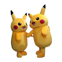 Wholesale Orange Baby Doll - 2017 new cute baby Pikachu mascot cartoon doll costume role playing adult clothing size, free shipping