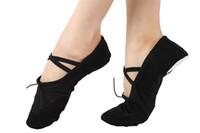 ingrosso scarpe da ballo di yoga-Pantofole da danza su tela da donna Split-sole Ballroom Belly Pratica danza piatto elastico coulisse ginnastica yoga scarpe prezzo all'ingrosso