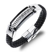 Wholesale Mens Bracelet Titanium - Promotion Fashion Male Jewelry Leather Bracelet Men Friendship Gold Stainless Steel Mens Bracelets PS4217