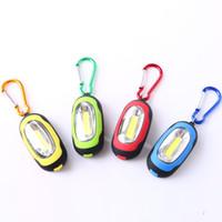 Wholesale Lanterns Key - FlashLights Portable Super Mini COB Light LED FlashLight Key Ring Torch 3-Mode Keychain Lamp Lantern With Button Battery