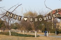 Venta al por mayor- Boda de la boda BABY SHOWER Rectángulo papel Kraft con cuerda de arpillera Bunting Banner Party Decorations Prop DIY