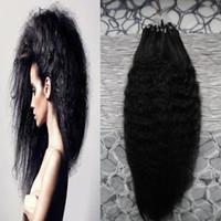 """Wholesale ring loop hair extensions - coarse yaki loop human hair grade 8a+ unprocessed virgin brazilian kinky straight hair micro loop ring hair extensions 100g pc 10""""--28"""""""