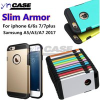 Wholesale Iphone 5s Slim Armor - Slim Armor Cases For Iphone 6 6s 7 7plus 5s Tough Armor Case For Samsung Galaxy S7 s7edge A520 A3 2017 A320 A720 A7 2017 Hybrid Case