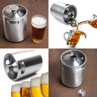 Wholesale New Beer Caps - NEW Stainless Steel 2L Flagon Hip Flasks Mini Beer Bottle Barrels Beer Keg Screw Cap Beer Growler Homebrew Wine Pot Barware Party WX-C07