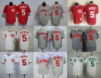 Wholesale Bench Back - Cincinnati Reds #5 Johnny Bench Home Away Baseball Jersey White Red Grey 1990 Turn back Throwback Retro Cool Base Stitched Jerseys