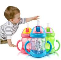 Wholesale Leakage Tool - Wholesale-280ml Babies Bottle Leakage-proof Portable Feeding Tool Baby Cup Children Learn Feeding Drinking Water Handle Bottle