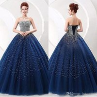 Wholesale Strapless Sweetheart Neckline Quinceanera Dress - Bling Sequind Ball Gown Quinceanera Dresses Tulle Sweetheart Neckline Beaded with Lace Up back Long Pageant Dresses Junior Prom Party Gowns